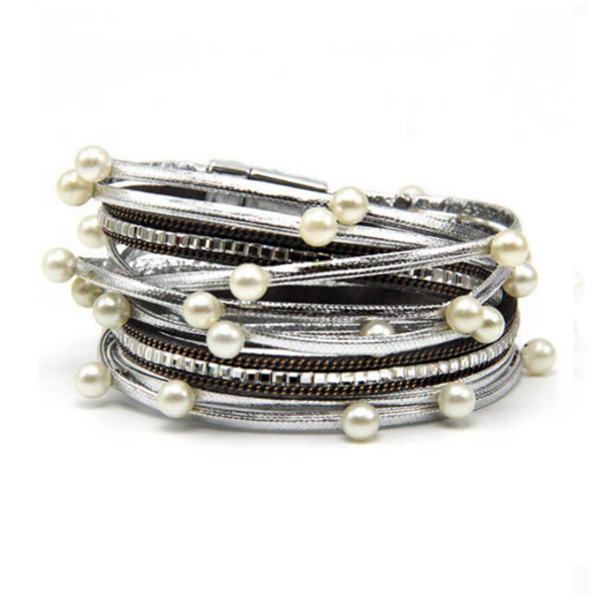 Silver Vegan Leather Magnetic Wrap Bracelet with Pearls