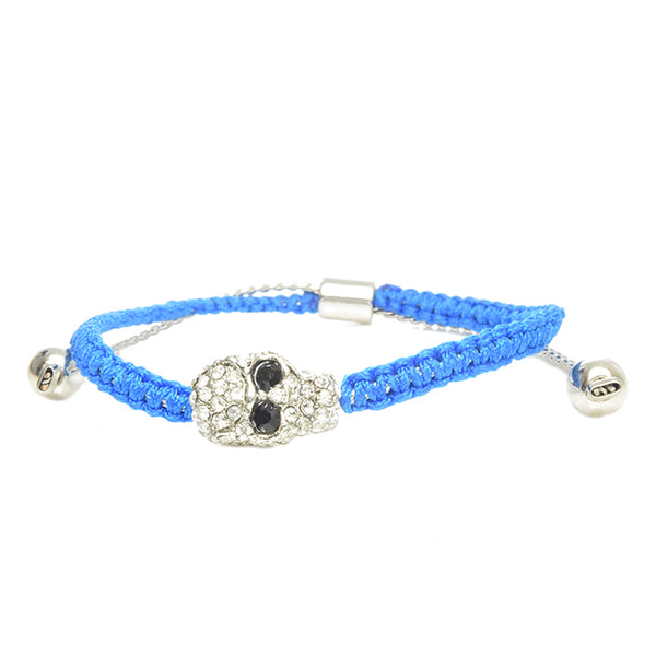 Blue Adjustable Silver Pave Skull Bracelet