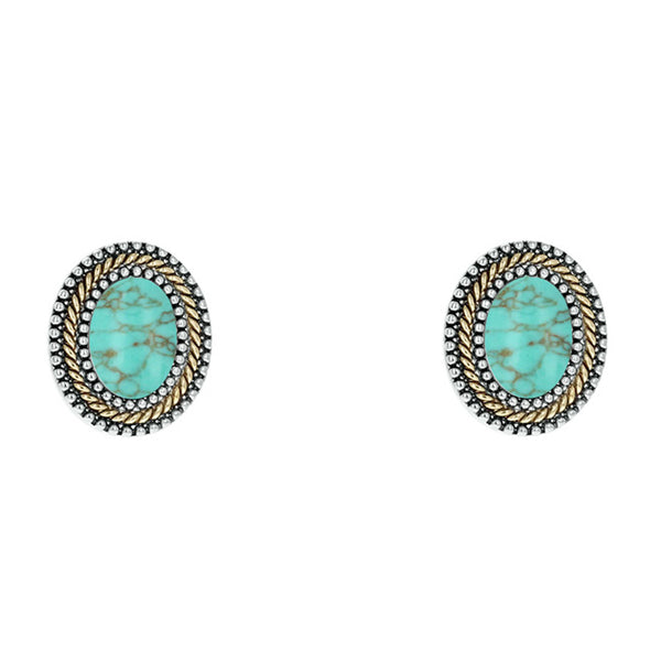 Two Tone Turquoise Oval Clip on Earring