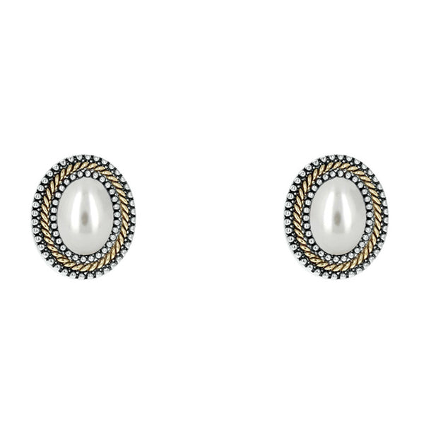Two Tone Mother of Pearl Oval Clip on Earring