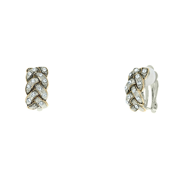 Two Tone Cubic Zirconia Braided Clip on Earring