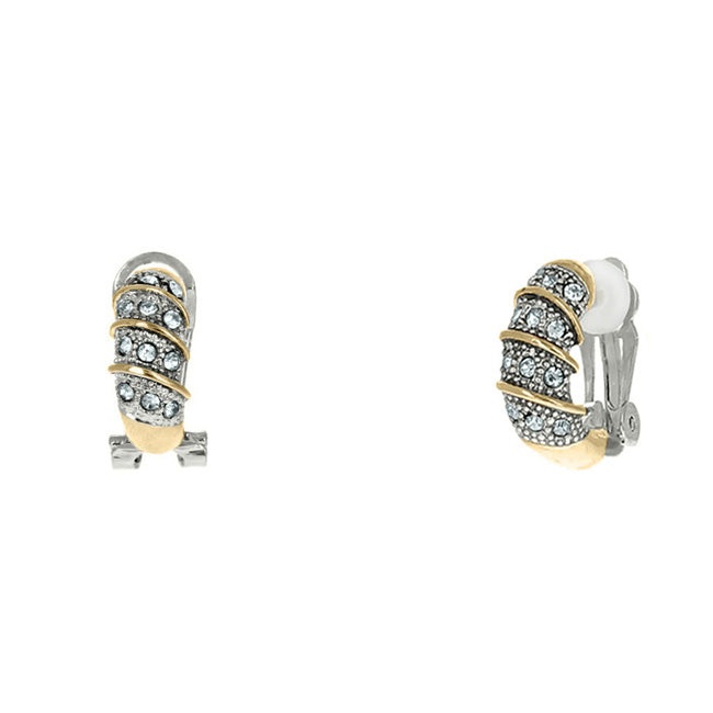 Two Tone Cubic Zirconia Clip On Earring