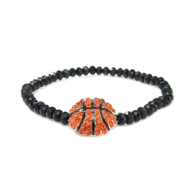 Black Crystal Beaded Basketball Stretch Bracelet