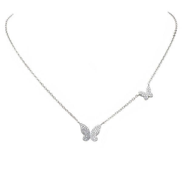 Silver Cubic Zirconia Pave Butterfly Pendant Necklace