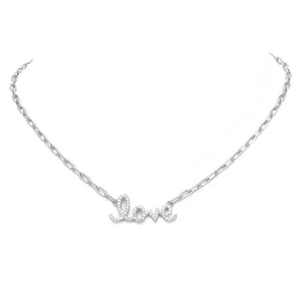 Silver Cubic Zirconia Pave Love Chain Necklace