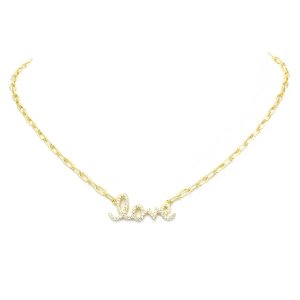 Gold Cubic Zirconia Pave Love Chain Necklace