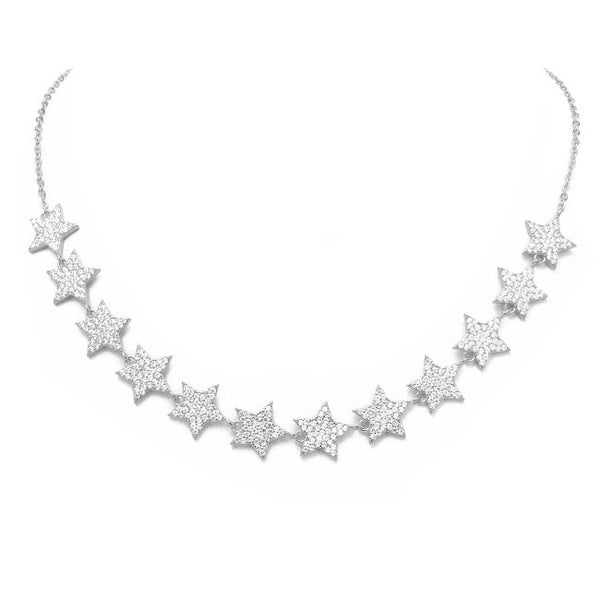 Silver Cubic Zirconia Pave Star Chain Necklace