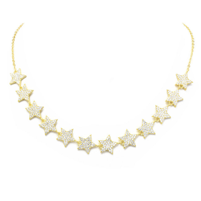 Gold Cubic Zirconia Pave Star Chain Necklace