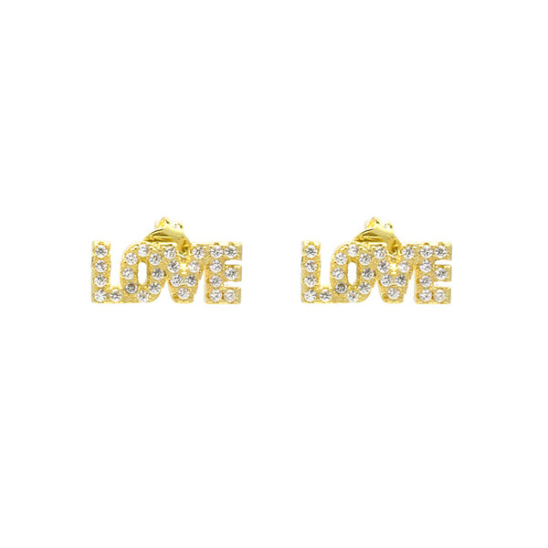 Gold Cubic Zirconia Pave Love Stud Earrings