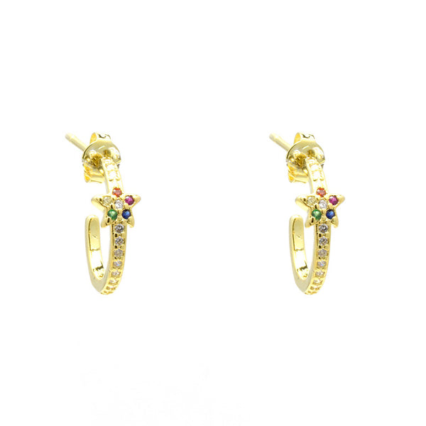 Gold Multi Color Cubic Zirconia Star Hoop Earring