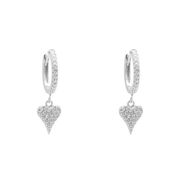 Sterling Silver CZ Pave Heart Dangle Earring