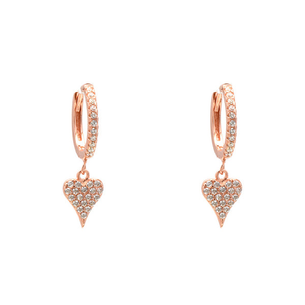 Sterling Silver Rose Gold Plated CZ Pave Heart Dangle Earring