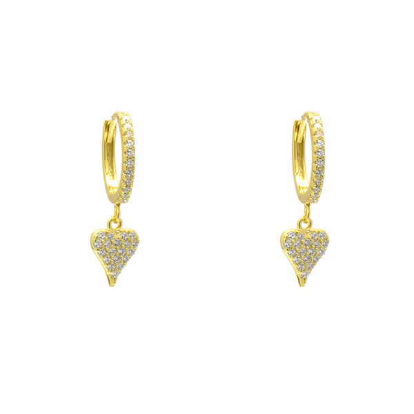 Sterling Silver Gold Plated CZ Pave Heart Dangle Earring