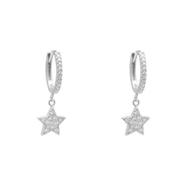 Sterling Silver Cubic Zirconia Pave Star Dangle Earring
