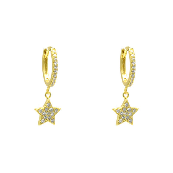 Sterling Silver Gold Plated CZ Pave Star Dangle Earring