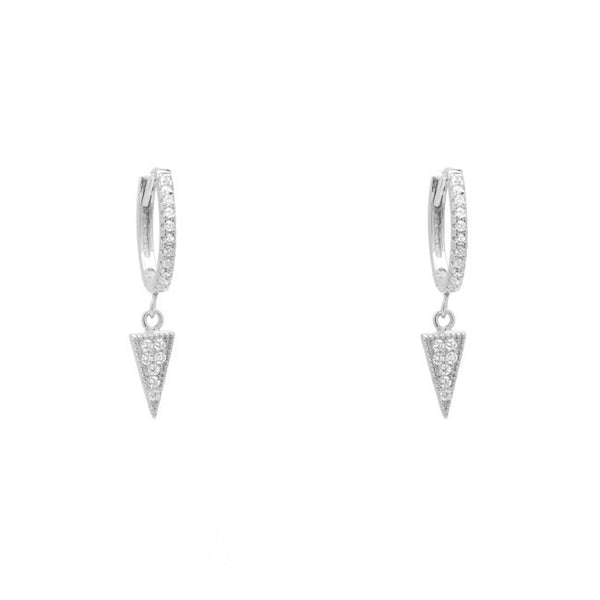 Sterling Silver CZ Pave Triangle Dangle Earring