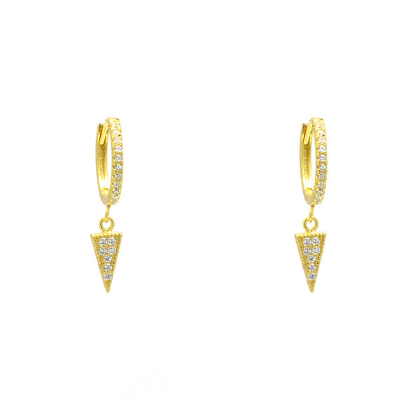 Sterling Silver Gold Plated CZ Pave Triangle Dangle Earring