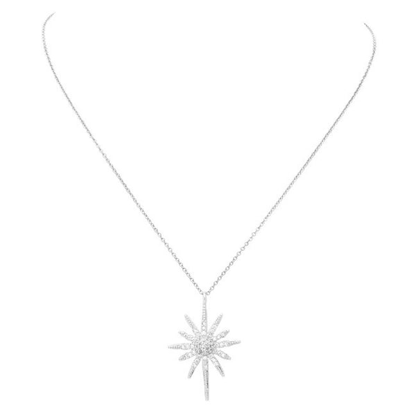 Silver Cubic Zirconia Pave Starburst Pendant Necklace