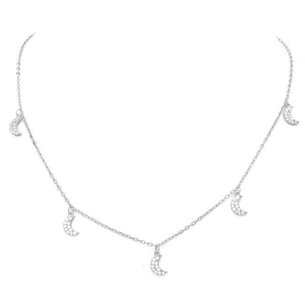 Silver Cubic Zirconia Pave Moon Charm Necklace