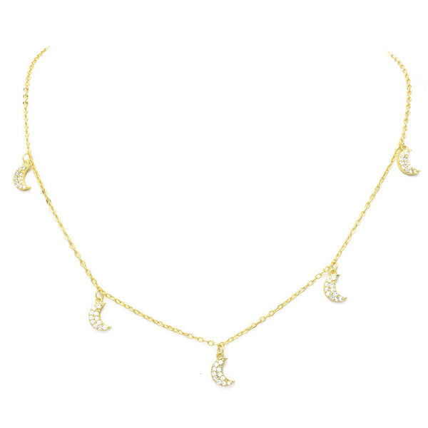Gold Cubic Zirconia Pave Moon Charm Necklace