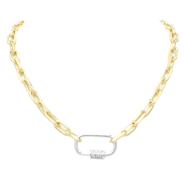cz linked chain necklace