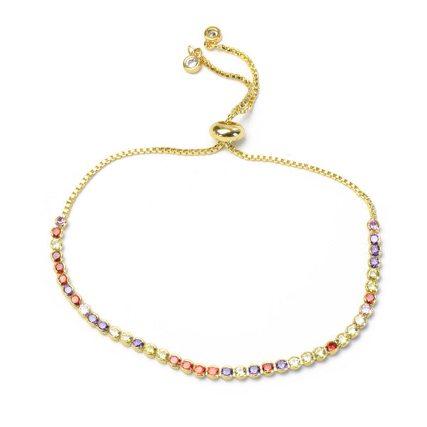 Gold Multi Color Cubic Zirconia Adjustable Bracelet