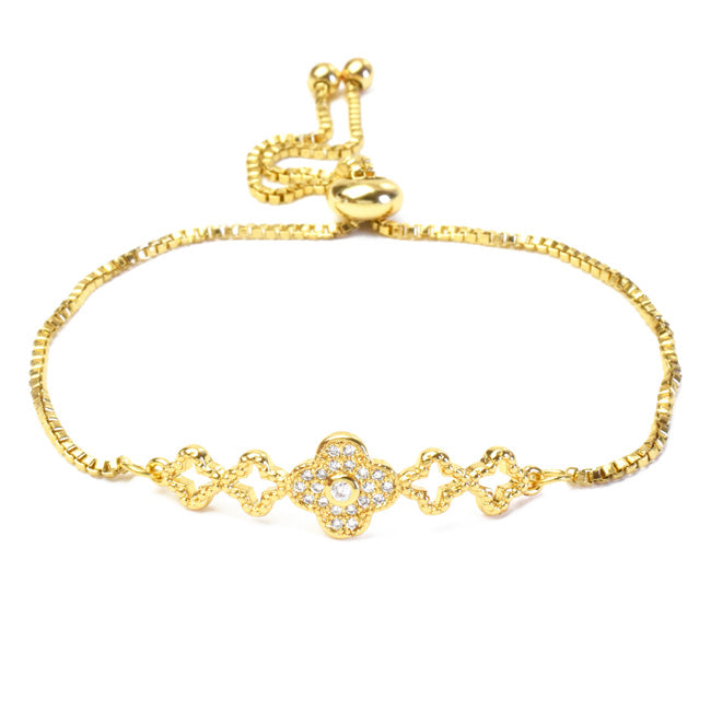 Gold Cubic Zirconia Adjustable Clover Bracelet