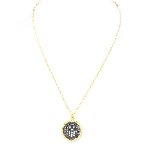 Gold Cubic Zirconia Round Hamsa Pendant Necklace