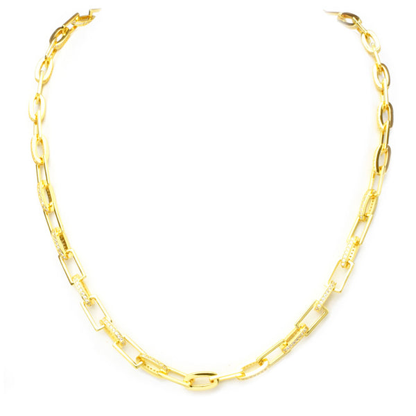 Gold Filled Linked Chain Necklace with Cubic Zirconia