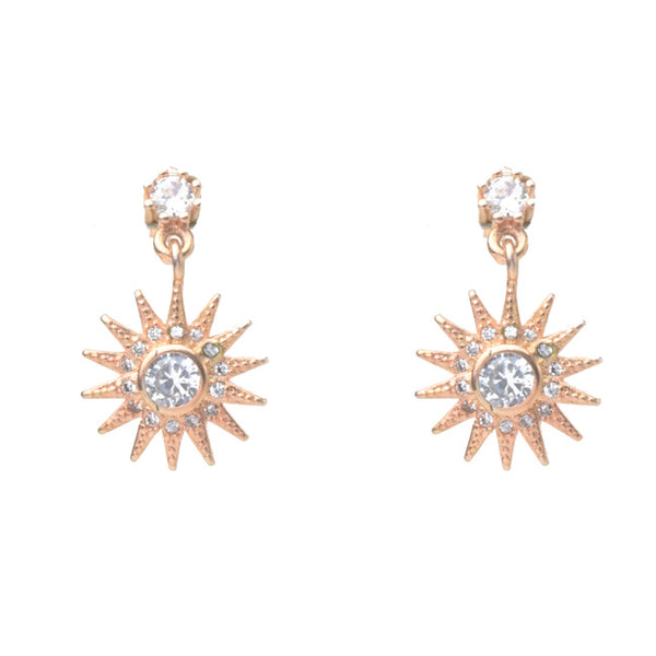 Rose Gold Cubic Zirconia Starburst Dangle Earrings