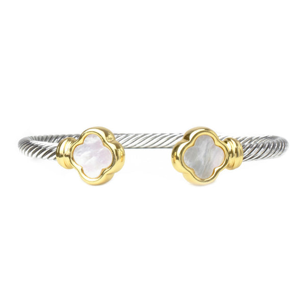 Two Tone Twisted Cable Open Cuff Clover Bracelet
