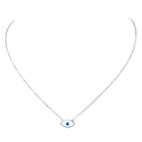 Sterling Silver Mother of Pearl Eye Pendant Necklace