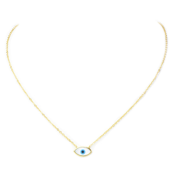 Sterling Silver Gold Plated Mother of Pearl Eye Pendant Necklace