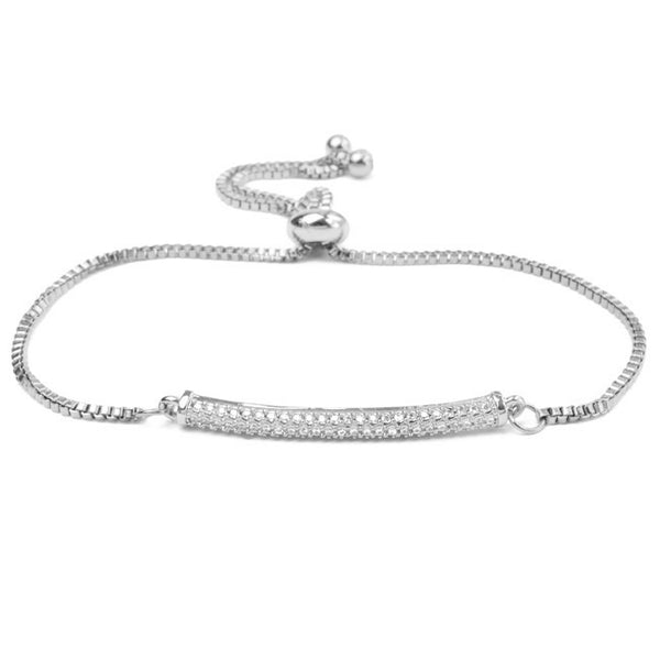 Silver Cubic Zirconia Adjustable Bar Bracelet