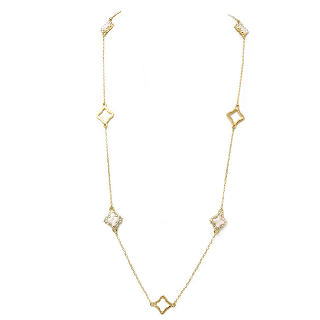 Gold Mother of Pearl Cubic Zirconia Clover Necklace