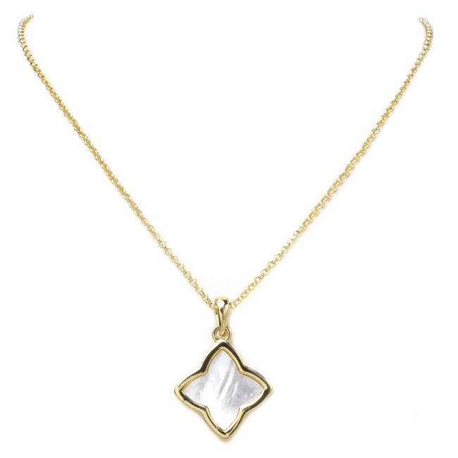 Gold Mother of Pearl Clover Pendant Necklace