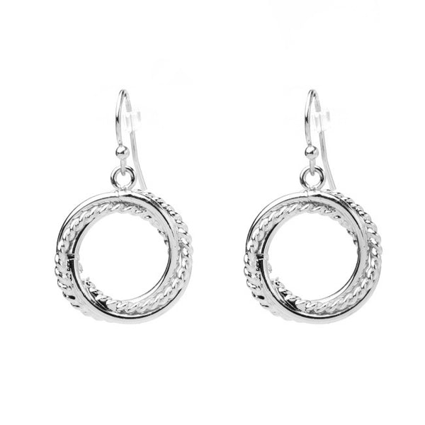 Silver Intertwined Dangle Earrings