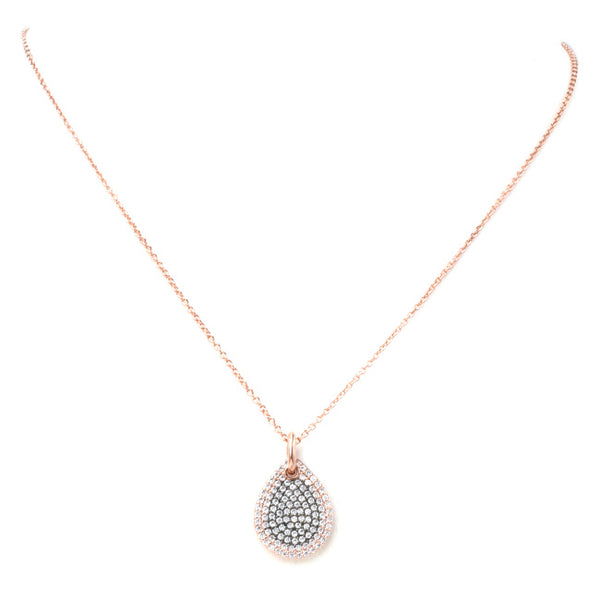 Rose Gold Cubic Zirconia Pave Teardrop Pendant Necklace