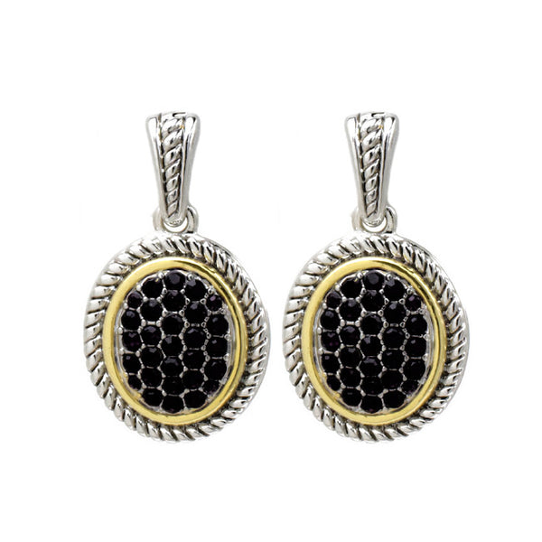 Two Tone Black Cubic Zirconia Pave Dangle Earring