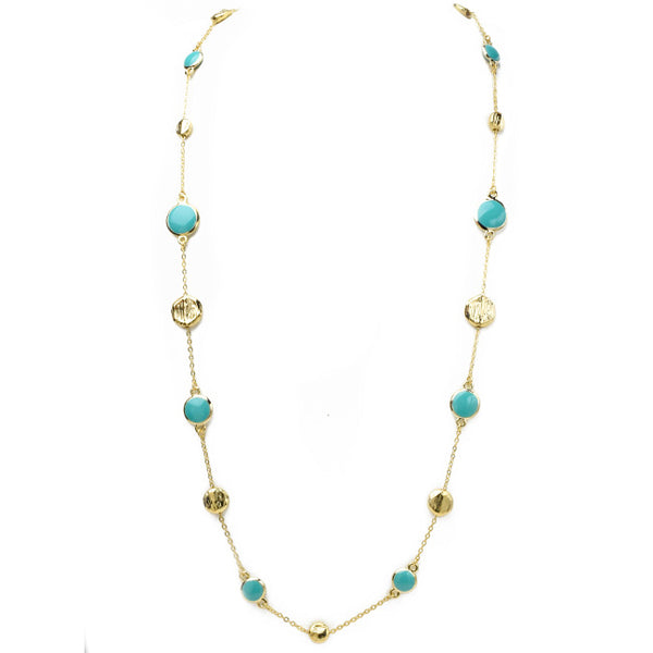 Turquoise & Brushed Gold Stations Necklace