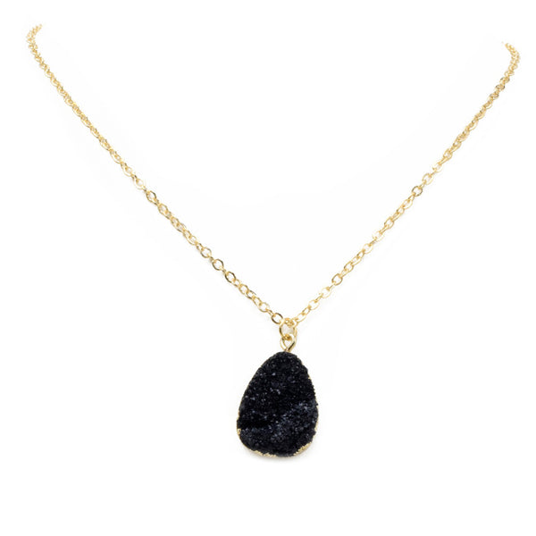 Gold Druzy Stone Pendant Necklace