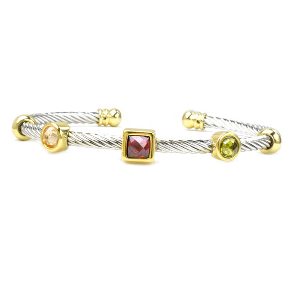 Two Tone Twisted Cable Multi Color Cubic Zirconia Open Cuff Bracelet