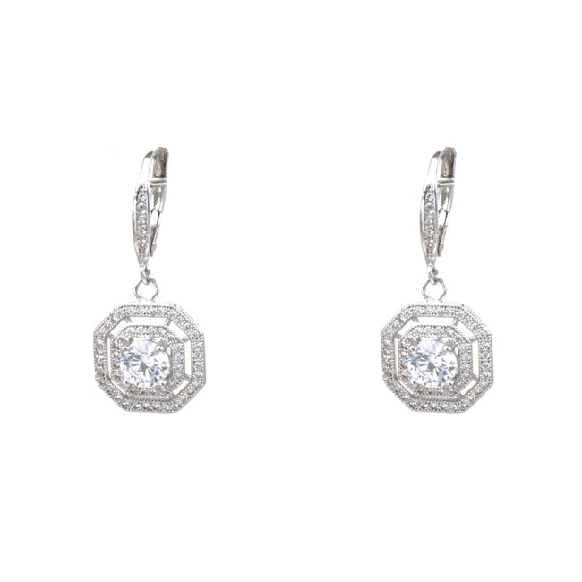 Silver Princess Cut Cubic Zirconia Dangle Earrings