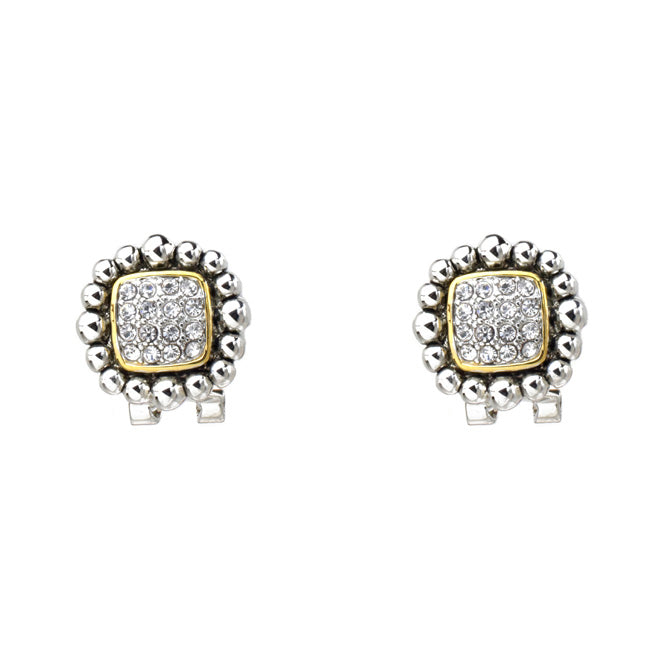 Two Tone Cubic Zirconia Pave Post Earrings