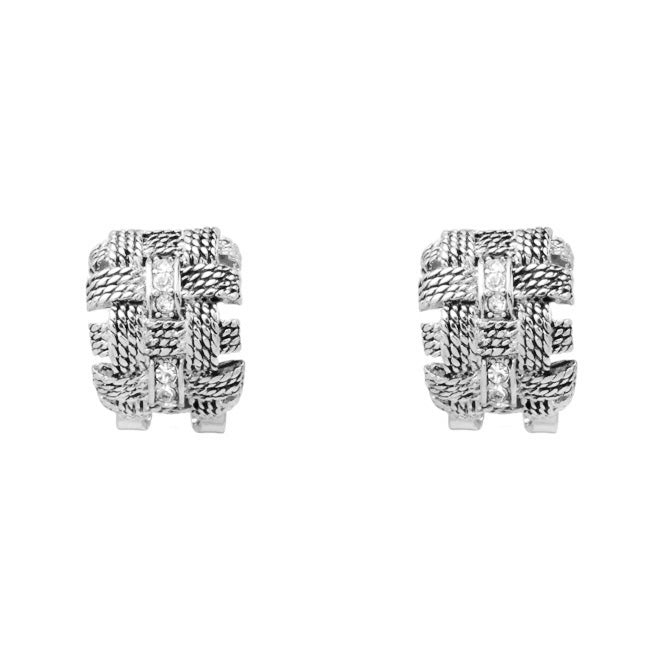 Silver Cubic Zirconia Rope Design Post Earrings