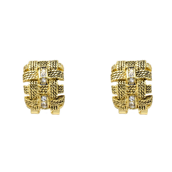 Gold Cubic Zirconia Rope Design Post Earrings