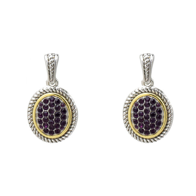 Two Tone Amethyst Cubic Zirconia Pave Dangle Earring