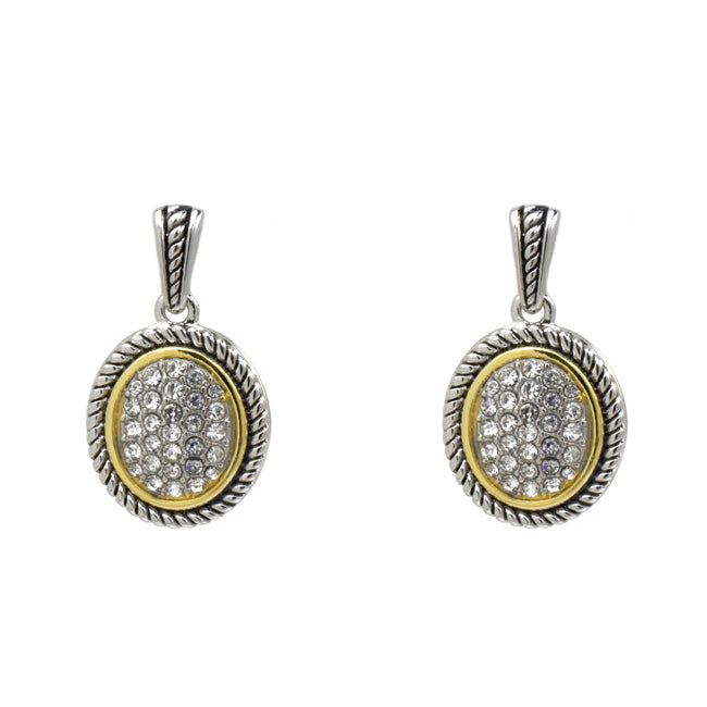 Two Tone Cubic Zirconia Pave Dangle Earring
