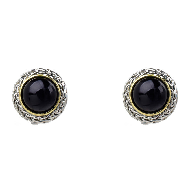 Two Tone Textured Black Onyx Clip On Earrings