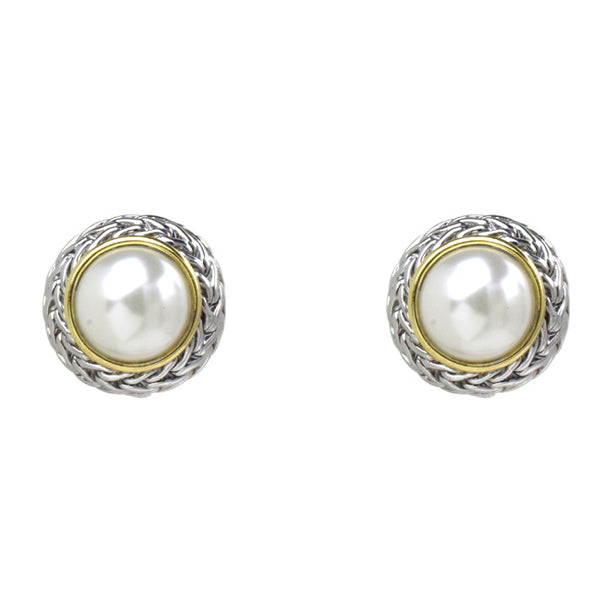Two Tone Textured Pearl Clip On Earrings